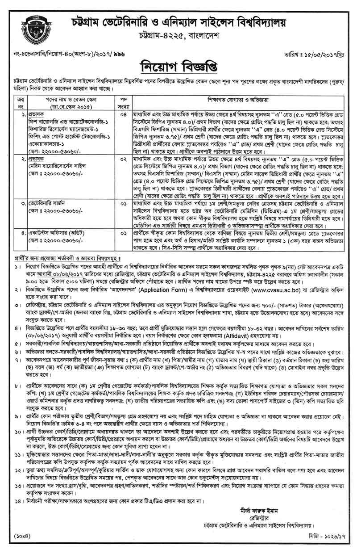 Bangla Job : Chittagong Veterinary & Animal Sciences University ...