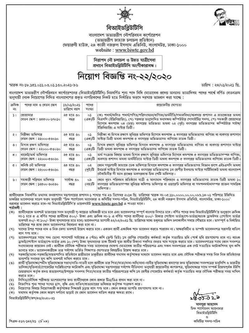 Bangladesh Inland Water Transport Corporation Job Circular Online BD Job.com