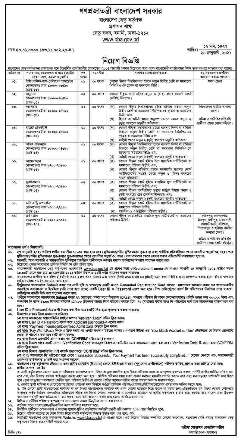 Bangladesh Bridge Authority Job Circular 2021 (Image)